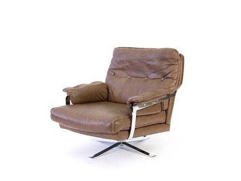 Arne Norell for Vatne Mobler Buffalo Leather and Chrome Lounge Chair