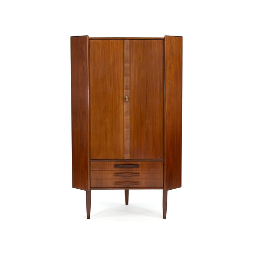 Danish Modern Rosewood Corner Storage Cabinet Unit