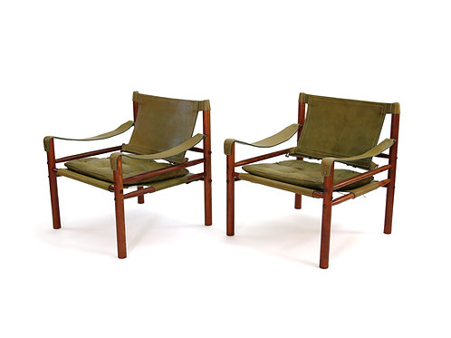 Arne Norell Sirocco Chairs Green Leather