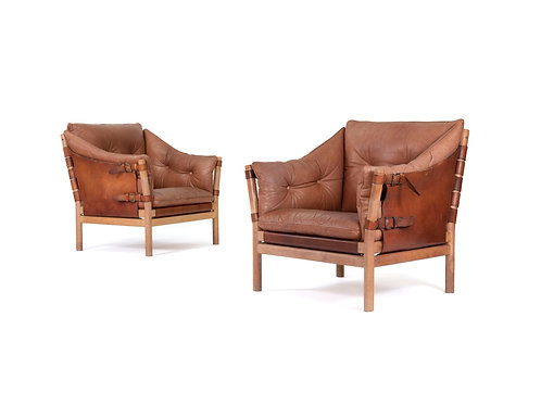 Pair of Danish Leather Sling Safari Chairs. SOLD