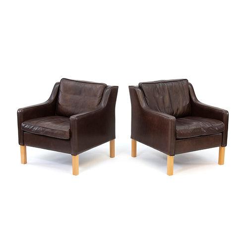 Mogens Hansen Leather Easy Chairs