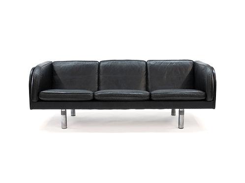 Jorgen Gammelgaard for Erik Jorgensen Black Leather Danish Sofa
