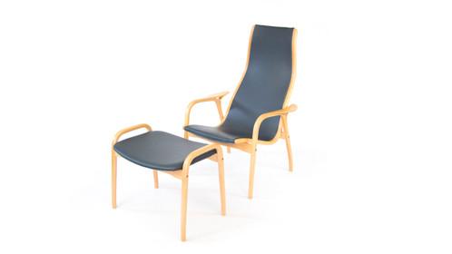Yngve Ekstrom Lamino Chair And Ottoman Black Grey Leather Beech Wood ...