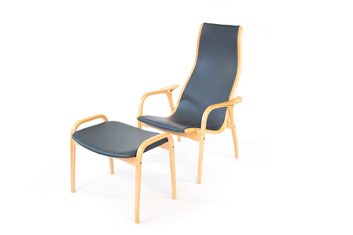 Yngve Ekstrom Lamino chair and ottoman black grey leather beech wood