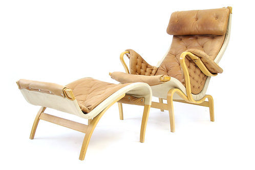 Bruno Mathsson Pernilla Chair and Ottoman for Dux Tan Leather