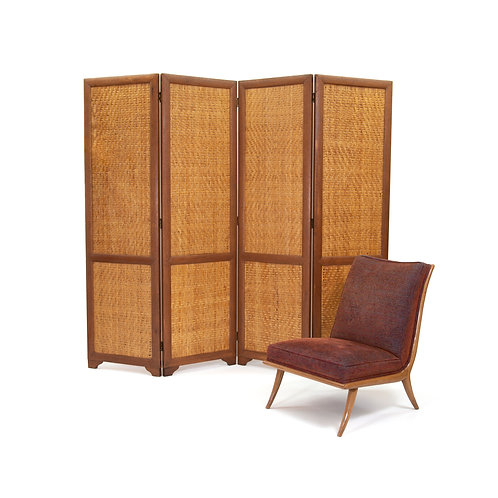 Scandinavian Teak and Rattan Folding Screen. Free Shipping