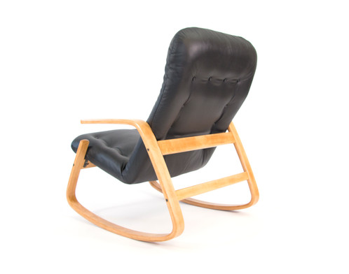 ... Ingmar Relling For Westnofa Black Leather Rocking Chair ...