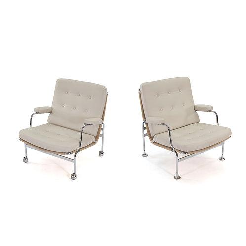 Pair Bruno Mathsson Karin Chairs Dux Leather Swedish Modern