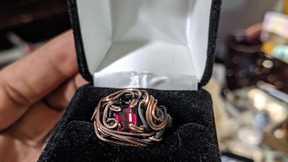 Blood Garnet Signet Style Ring