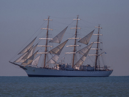 La Fragata Libertad llegó hoy a Mar del Plata y permanecerá hasta mañana fondeando en el mar