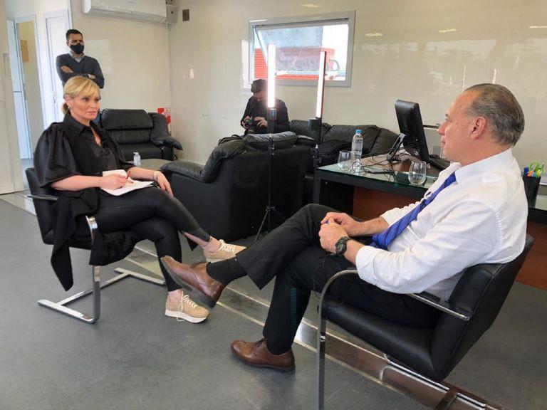 El Ministro Berni, previo a la entrevista con Romina Manguel.