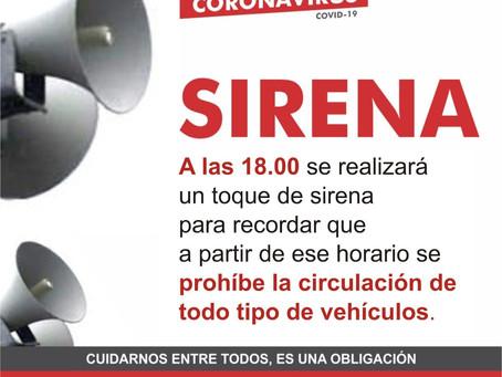"""En Chacabuco, a las 18 horas, hay """"toque de sirena"""""""