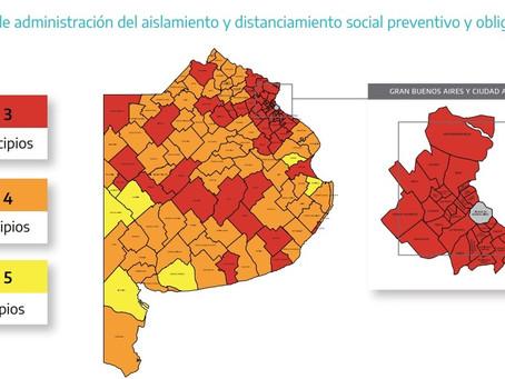 El Gobierno actualizó la ubicación de los 135 municipios bonaerenses en el sistema de fases