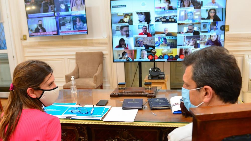 Raverta y Sergio Massa, Presiden de la Cámara de Diputados de la Nación, mantuvieron una reunión con legisladores.