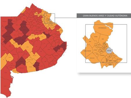 Pandemia del COVID-19 | Así quedó el mapa de la provincia de Buenos Aires
