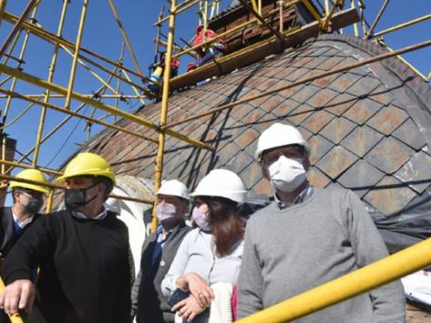 Avanzan los trabajos en las cúpulas de la Casa de Gobierno bonaerense
