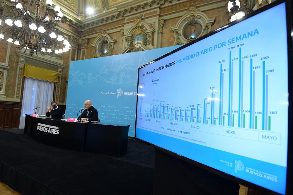 Gollan, junto al Jefe de Gabinete, Carlos Bianco, en conferencia de prensa, exponiendo sobre la situación epidemiológica.