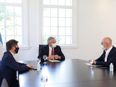 COVID-19 | Preocupado por el aumento de casos, Alberto Fernández se reunió con Kicillof y Larreta