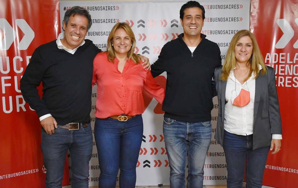 Gastón Manes, Erica Revilla, Intendenta del Distrito General Arenales, Maximiliano Abad y Alejandra Lorden, Diputados provinciales.