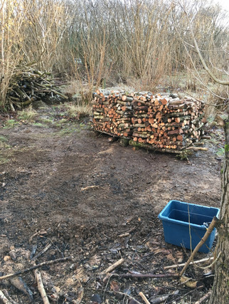 Hazel firewood stacks