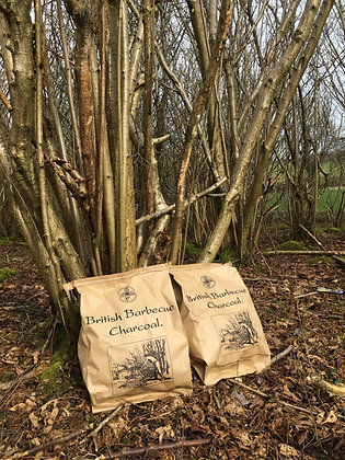 Bagged charcoal at the coppice
