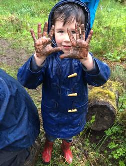 Muddy hands