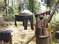 Drying muddy clothes