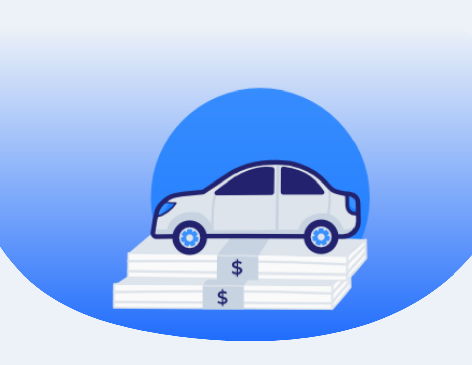 Icon of a car on a stack of money