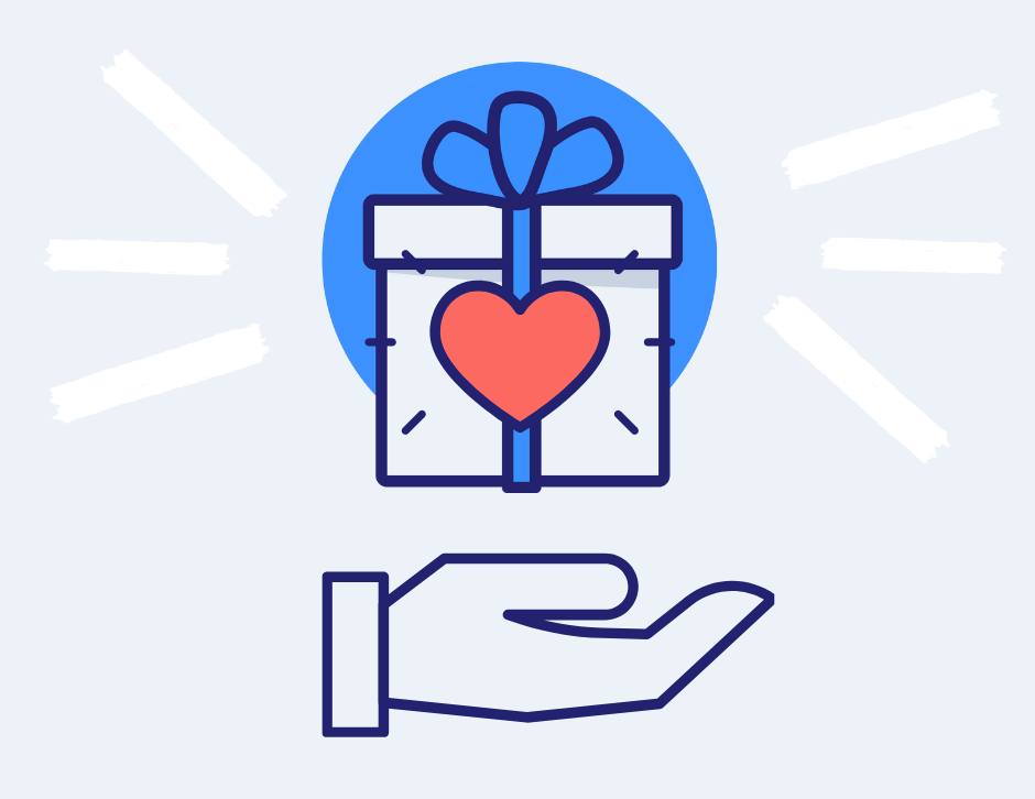 Hand holding a gift box with an icon of a heart on it