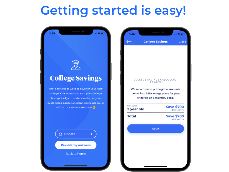 Pocketnest app screen for college tuition planning