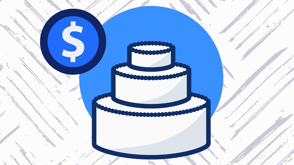 Wedding cake with dollar sign