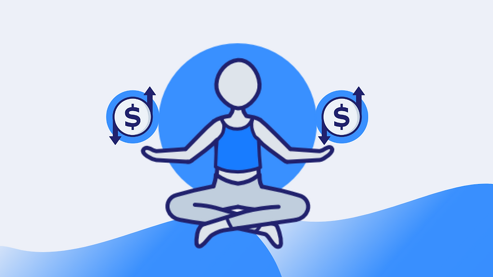 Person sitting crosslegged meditating, with money icons in each hand