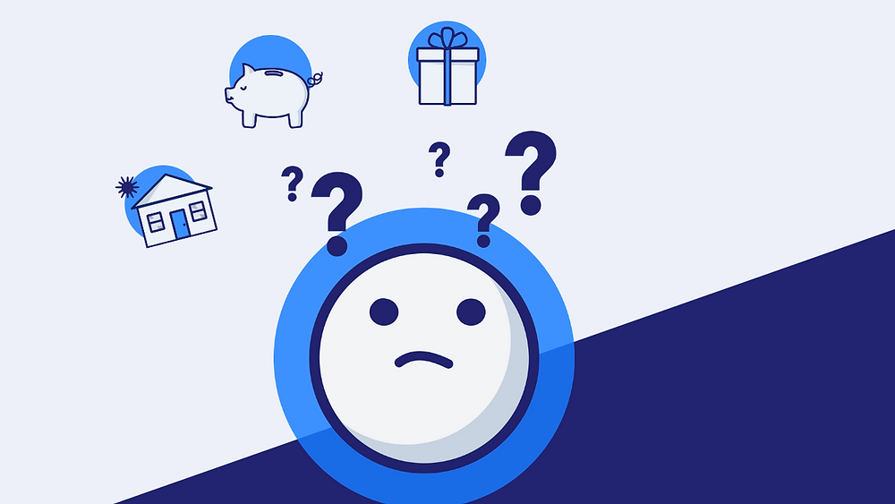 Confused face considering gift, piggy bank and house icons