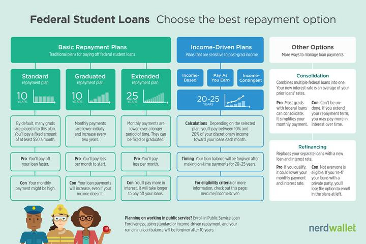Infographic to choose the best student loan repayment option for you