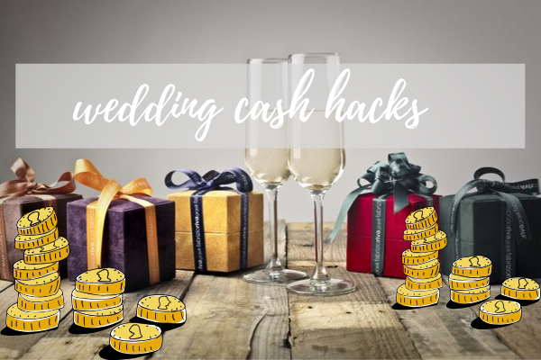 Wedding gifts next to coins and champagne flutes