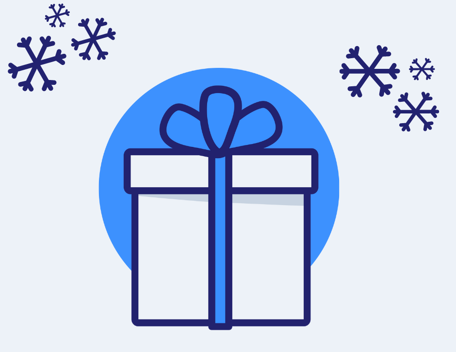Icon of a gift box with snowflakes in the air