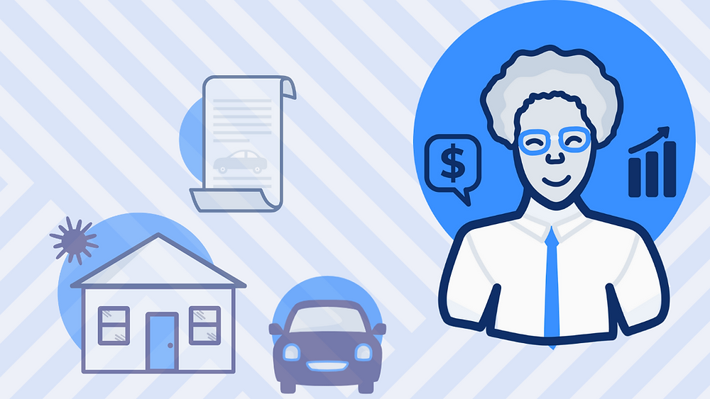 Estate attorney next to house, car loan, car