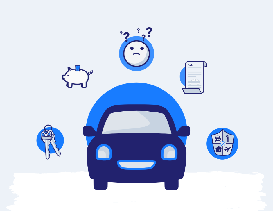 Car with icons of keys, piggy bank, confused face, auto loan and insurance shield surrounding it