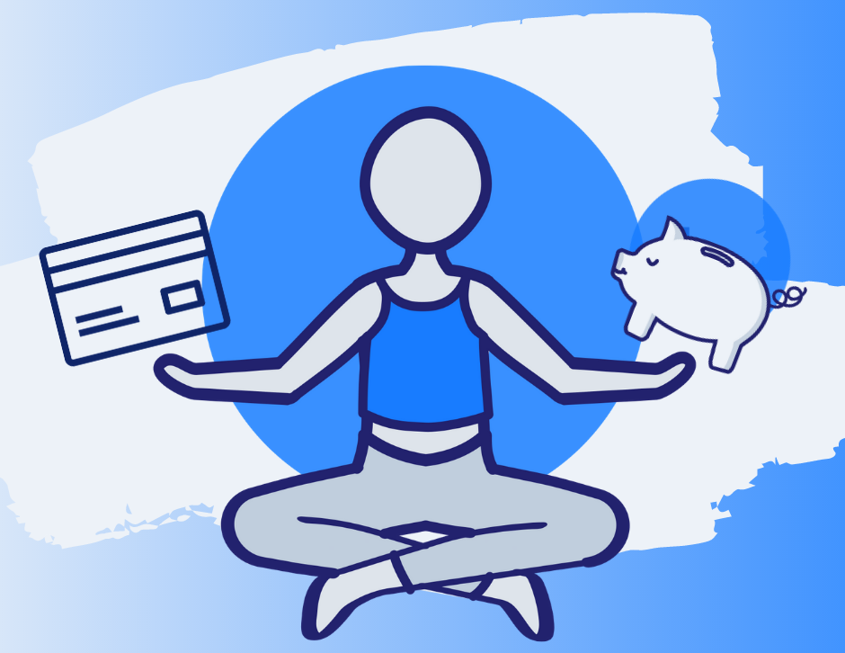 Person sitting crosslegged balancing a credit card and a piggy bank in either hand
