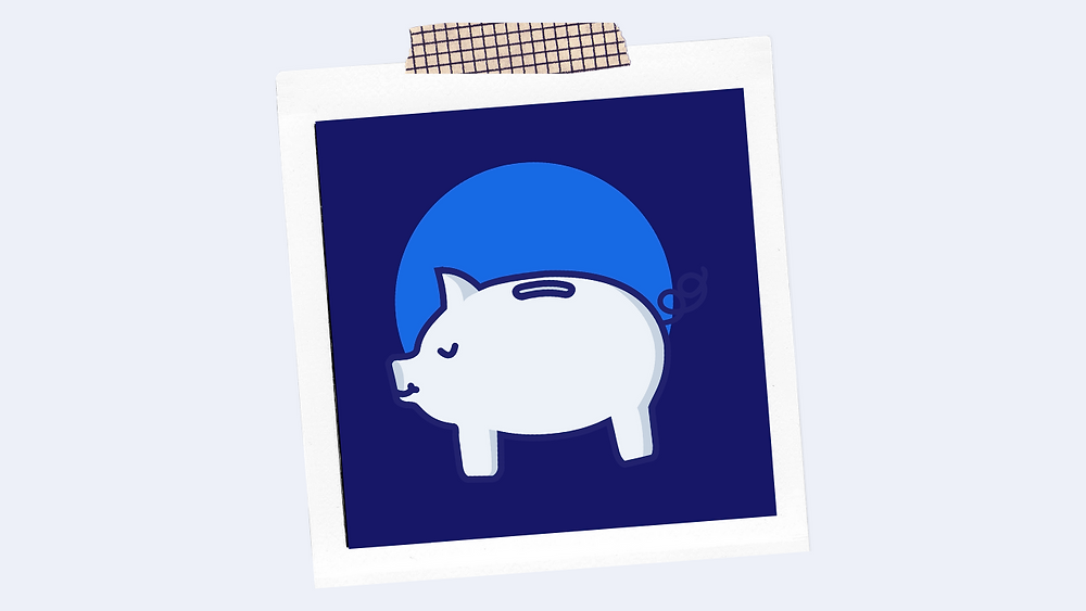 Photograph of the icon of a piggy bank taped to a wall