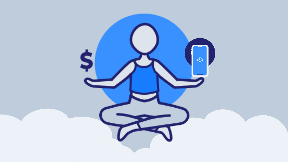 Person in clouds balancing money and the Pocketnest app