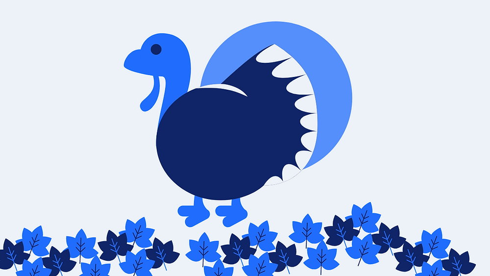 Icon of a turkey on fallen leaves