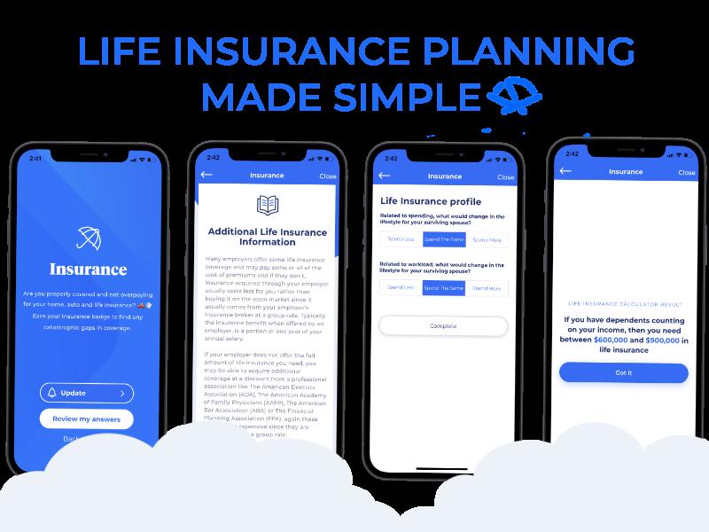 Pocketnest life insurance app screens