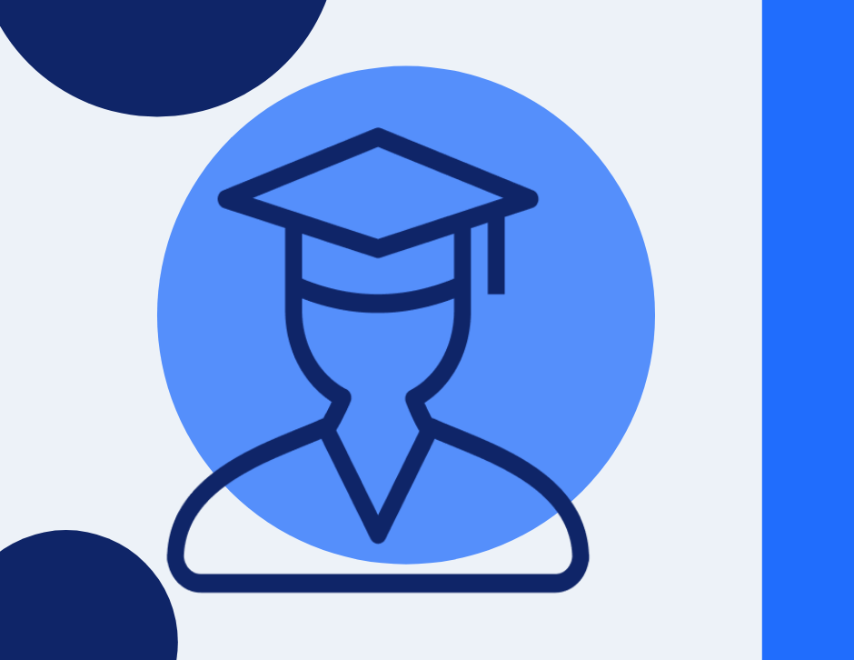 Icon of a graduate wearing a grad cap and gown