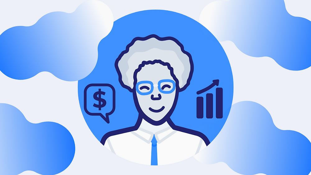 Man with glasses surrounding by money signs and graphs