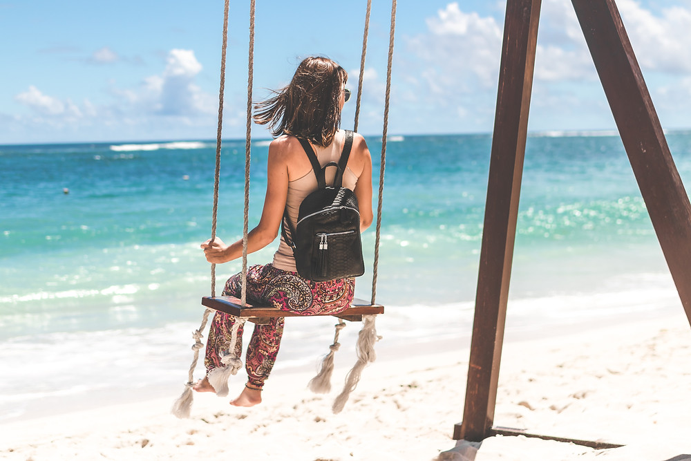 Woman on a swing at the ocean