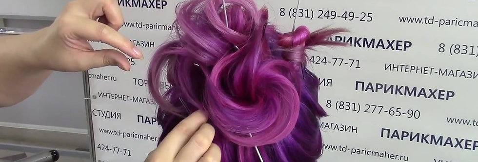 Копия Вечерняя прическа на длинные волосы:  высокий пучок