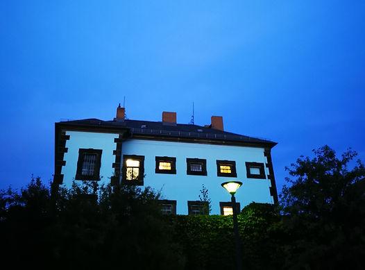 JVA Grossenhain prison at nightfall Sept
