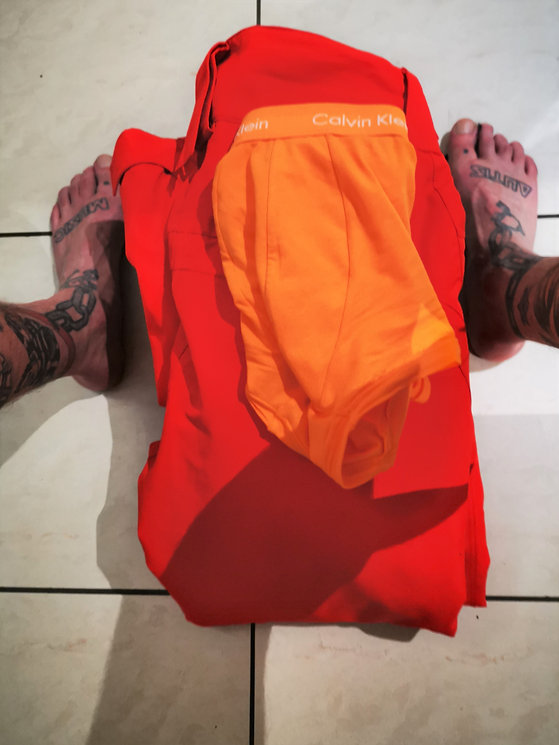 Nick's orange pants January 24 2019 1747