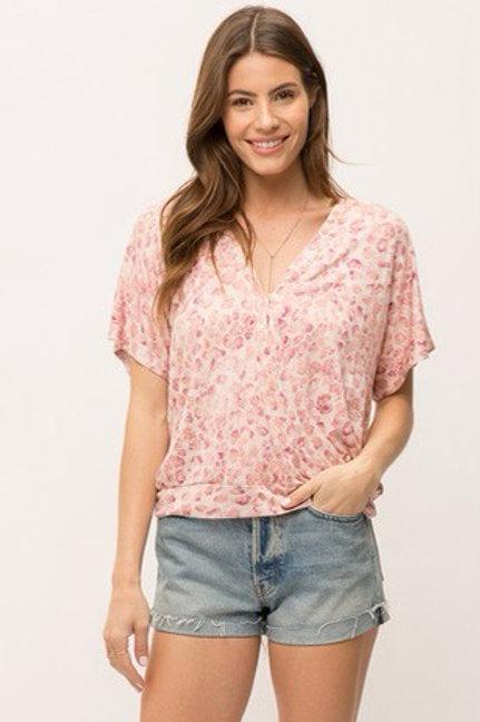 Floral faux wrap blouse